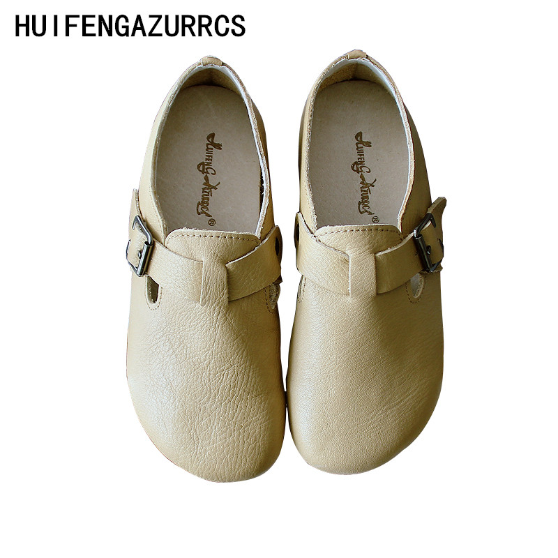 HUIFENGAZURRCS Spring new school style hand art round head low top shoes t buckle style original