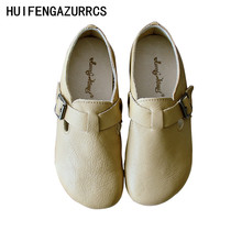 HUIFENGAZURRCS-Spring new school style hand art round head low top shoes t-buckle style original women real leather single shoes