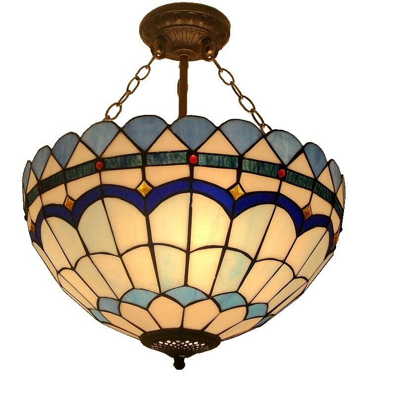 16inch living room bedroom entrance tiffany chandelier blue glass lighting - Tiffany Chandelier
