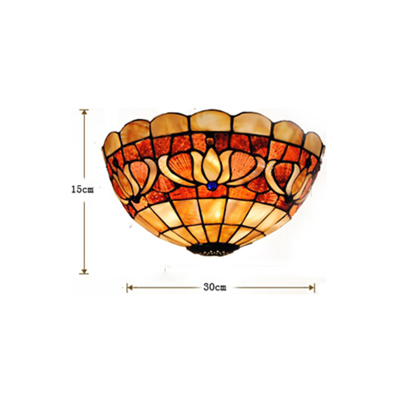 Tiffany Style Lily Flowers Pattern Wall Sconces E27 Tiffanylamp Retro Stained Glass Fixt ...