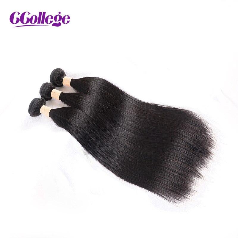 Malaysiska Straight Hair Bundles 100% Human Hair Weave Bundles 3st / - Mänskligt hår (svart)