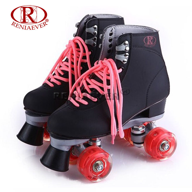 RENIAEVER Roller Skates Double Line Skates Black Women Female Lady Adult With Red LED 4 Wheels Two Line Skating Shoes Patines reniaever roller skates double line skates white women female lady adult with white pu 4 wheels two line skating shoes patines