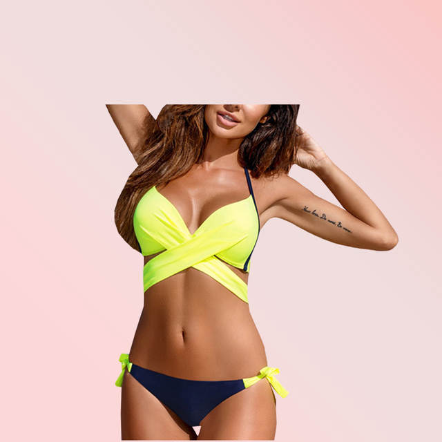 4a812bb68b Online Shop Fluorescent Green Solid Color Bikiniwear Women's Swimwear 2-Piece  Separate Sport Swimsuit Plus Size XXL Beach Bathing Suit | Aliexpress Mobile