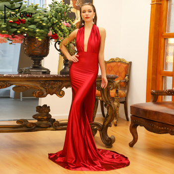 Free Shipping 2020 Sexy V-neck sleeveless maxi dress V Neck Solid Color Floor-length Party Dress Women Satin FT5035