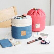 Barrel Shaped Travel Cosmetic Bag Nylon High Capacity Drawstring Elegant Drum Wash Bags Makeup Organizer Storage Bag FA$B