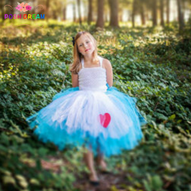 f0e882f46 POSH DREAM Alice In Wonderland Costume Blue White Alice Cosplay Tutu Dress  with Ref Heart Alice Dress Tea Party Mad Hatter