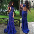 Custom Made Royal Blue Mermaid Cap Sleeve Sweep Evening DressProm Dresses Cystal Beading Sexy Backless Lace Party Gown vestido