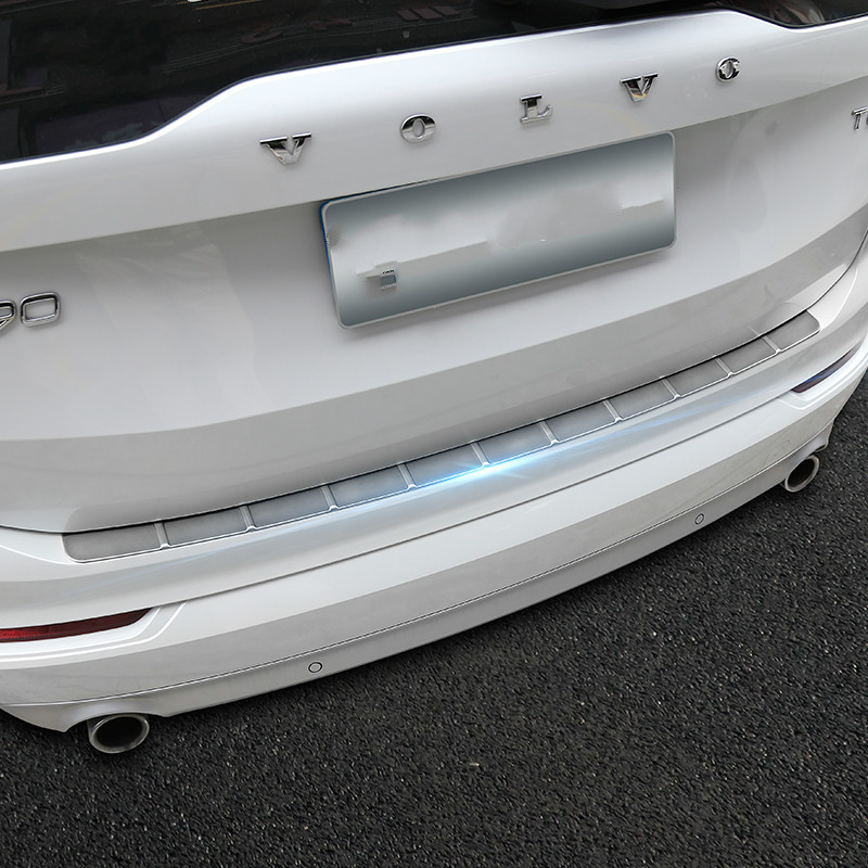 KOUVI Stainless Steel Rear Bumper Protector Sill Plate Guard Cover Trim For NEW Volvo XC90 2016 2017 car styling sticker protective pvc car bumper guard protector sticker white 2 pcs