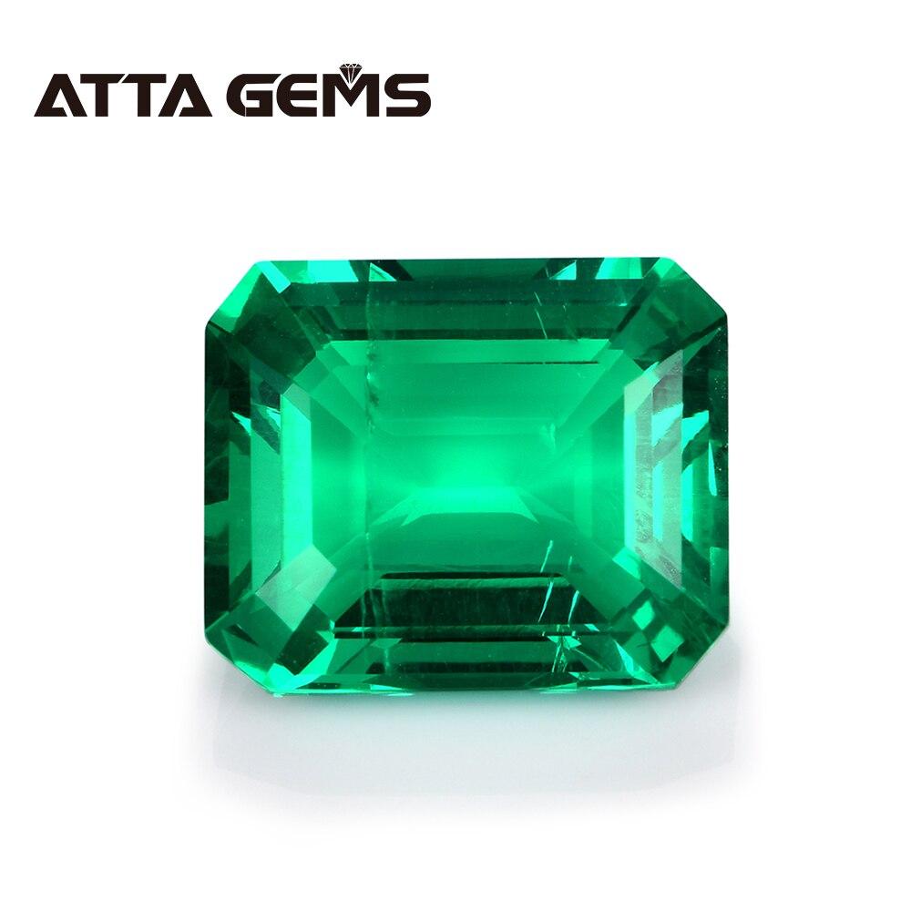 Green Columbian Emerald Loose Gemstone Classic Emerald Cut Hydrothermal Emerald 8mm*10mm 2.7 Carats For Jewelry Personal Design