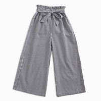 Children's pants girls stripes wide legs pants children's spring and autumn straps girls trousers bow children's pants