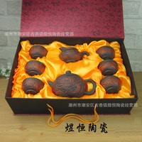 Hot Sale 8 Pcs Kung Fu Tea Set [Teapot + Serving Cup +6 Cups] Travel Chinese Porcelain Ceramic Yixing Purple Clay Gift Packing
