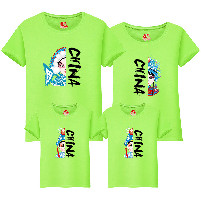Chinese Style Family Look Matching Outfits Clothes Summer Short Sleeve t shirt Cotton Casual Tops Mother and Daughter Clothes