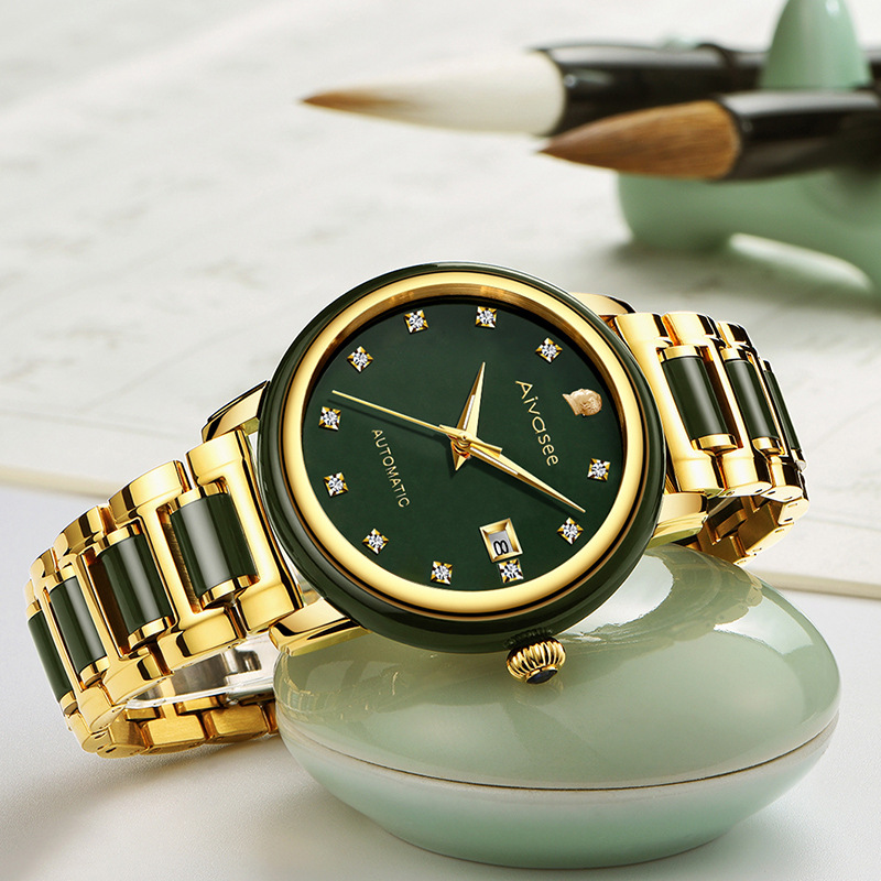Top Brand Emerald Hollow Automatic Waterproof Men's Stone Mechanical Watch Couple Watches Women's Jade Watch Relogio Masculino