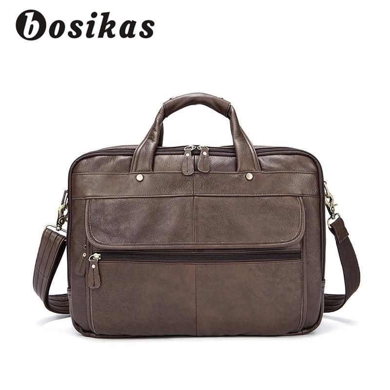 купить BOSIKAS Leather 14inch Business Briefcase Laptop Bag Zipper Handbags Totes Genuine Leather Shoulder Bags Work Document Men Bags недорого