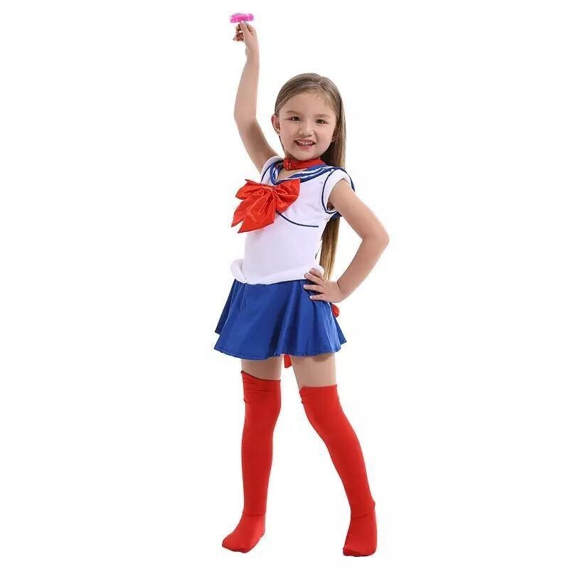 Hot Anime Super Sailor Moon Cosplay Costumes Set Usagi Navy Dress Children Girls Fancy Costume Kid Clothes Halloween Performance-in Girls Costumes from Novelty & Special Use