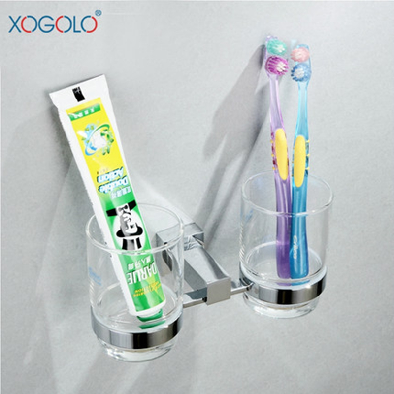 Xogolo Modern Style Luxury Chrome Double Tumbler Accessories Toothbrush Holder Glass Wall Mounted Bathroom Cup Holder image
