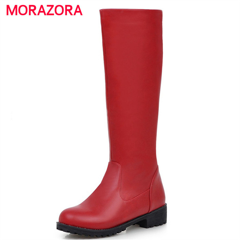 MORAZORA Platform shoes woman fashion spring autumn knee high boots PU solid round toe women shoes boots female big size 34-43 fashion women half knee high boots solid buckle metal round toe platform wedge shoes 3 colors large size 34 43