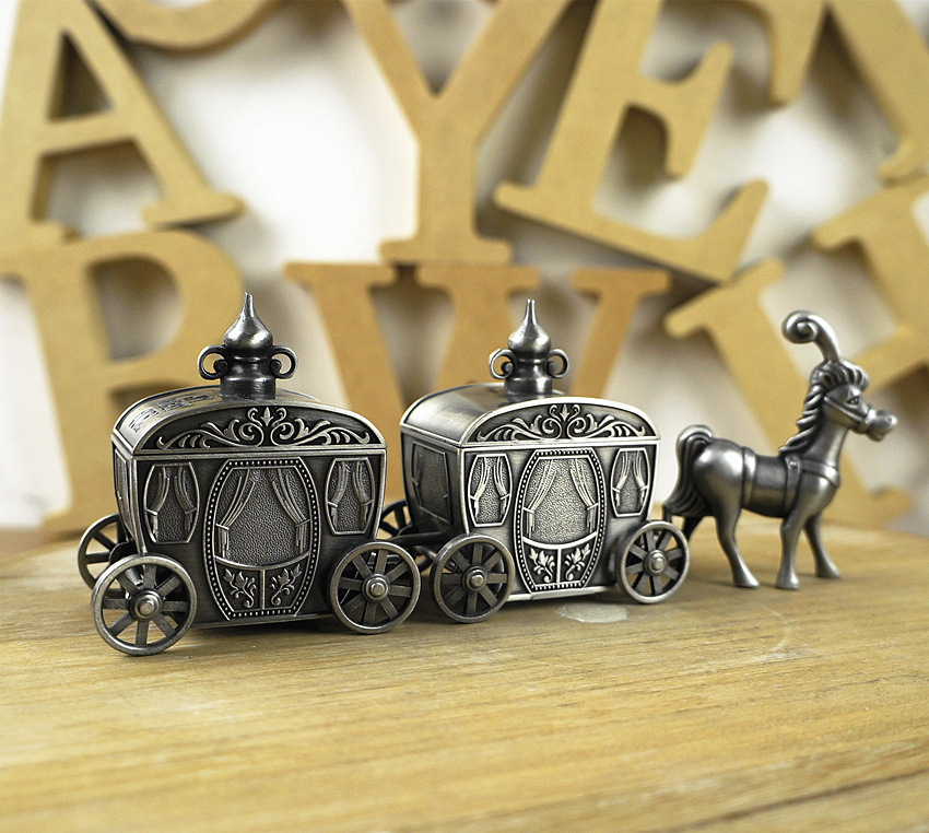 High End Box Birthday Gift My First Tooth First Curl Storage Box Metal Deer Carriage Fairytales