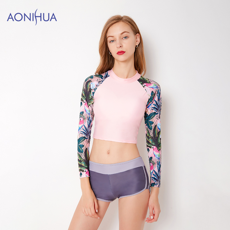 AONIHUA waterproof swimsuit Two Piece Swimsuit Tight Sport Bodysuit Swimming Suit For Women Long Sleeve Top S-2XL