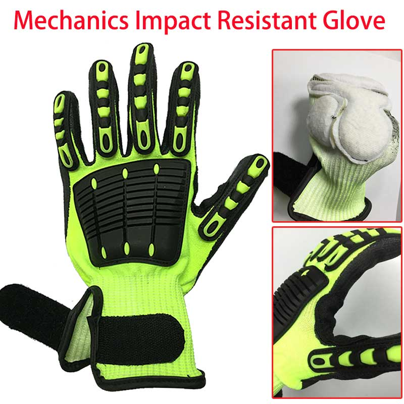 NMSafety Anti <font><b>Vibration</b></font> Oil Safety Glove Shock Absorbing <font><b>Mechanics</b></font> Impact Resistant Work Glove