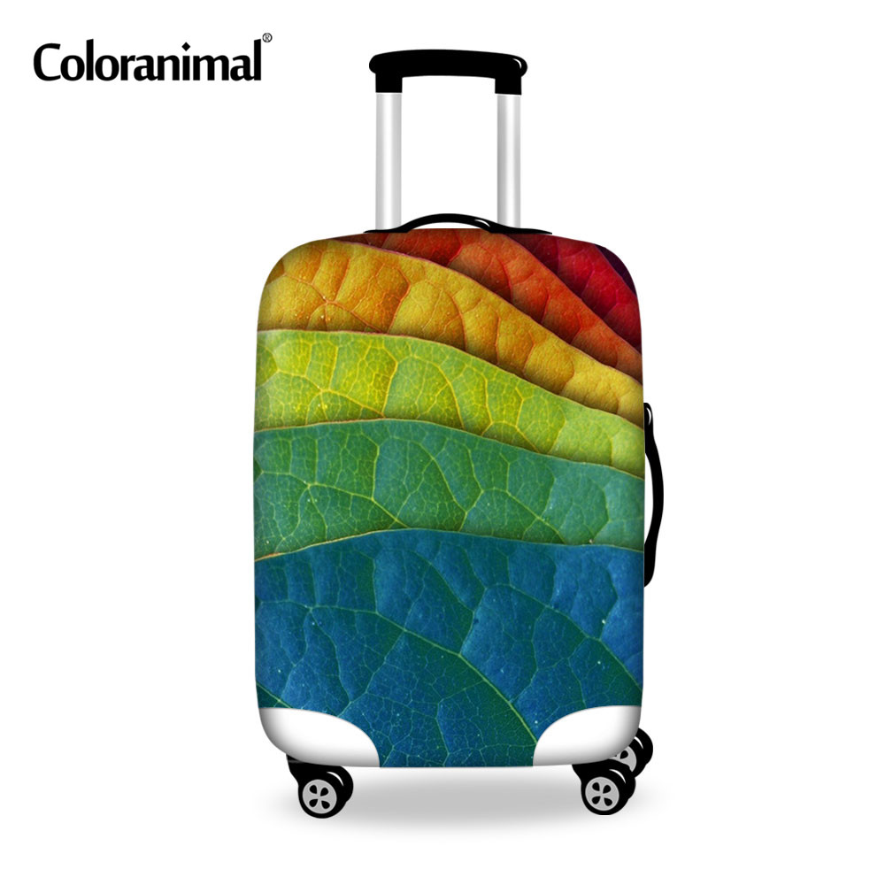 Coloranimal Maple Leaves Printing Protect Luggage Cover Trolley Suitcase With Zipper For 18-30 Inch Dustproof Elastic Case Cover