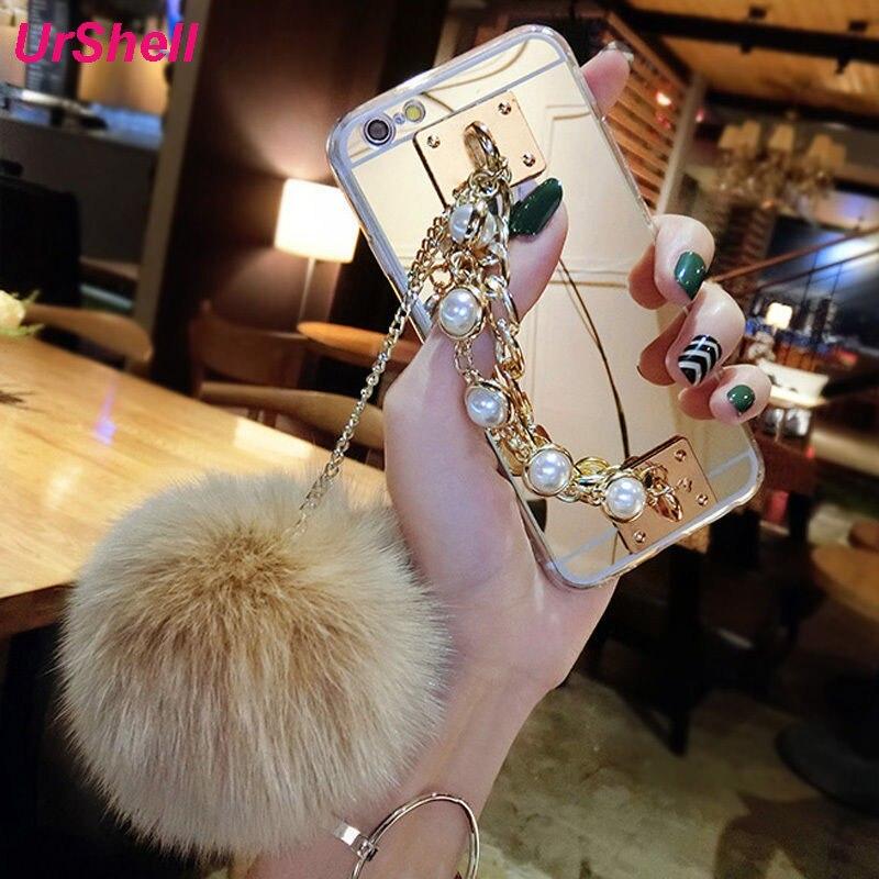 Para Samsung Galaxy S10 S9 S8 Plus S10E Nota 10 9 8 A3 A5 A7 J3 J5 J7 2017 J4 J6 A8 2018 Mais Casos Espelho Cadeia de Pérolas Bola De Pêlo