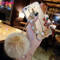 For Samsung S20 Ultra S10 S9 S8 Plus S10E Note 10 9 8 A3 A5 A7 J3 J5 J7 2017 J4 J6 A8 2018 Plus Pearl Chain Fur Ball Cases