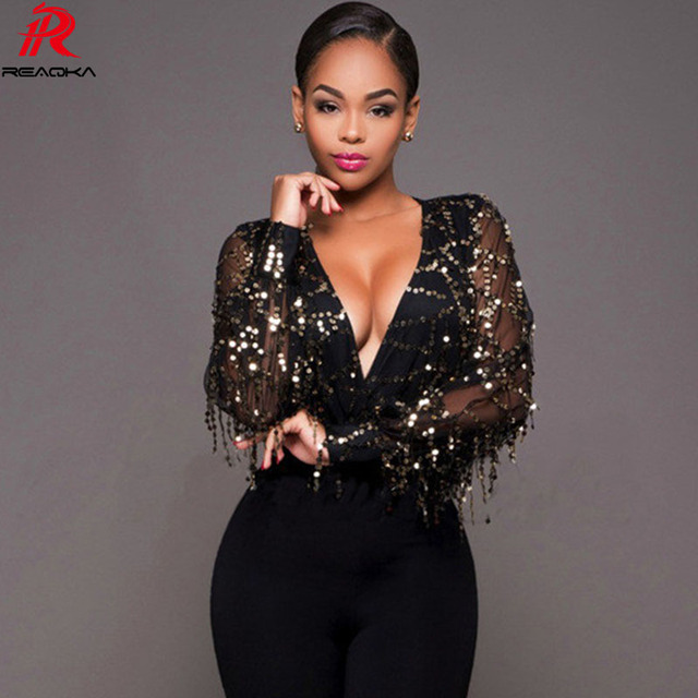 2fcc6ad275 Reaqka Summer Women Jumpsuit Black Sequined Bodysuits Gold Sequin Leotard Bodysuits  Club Wear Embroidery Jumpsuit Party Romper