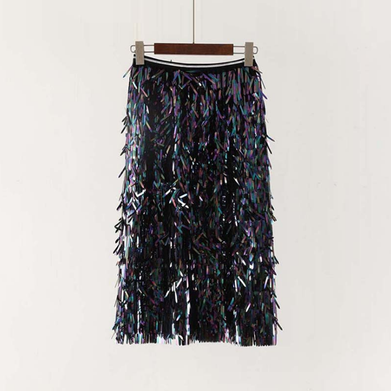 2019 New Fashion Spring and Summer Sequins Skirts Fashion Beading Length Empire Sexy Club Skirts in Skirts from Women 39 s Clothing