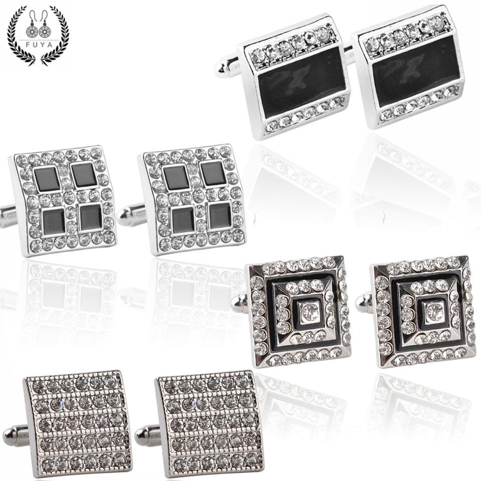 New Luxury Geometric Rhinestone Cufflinks For Mens Shirt Jewelry High Quality Trendy Black Elegant Twins Cufflinks Buttons Gifts