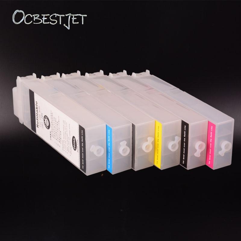 OCBESTJET PFI107 Refillable Ink Cartridge For Canon iPF 680/685/770/780/785 Printer in 260ML 6PCS