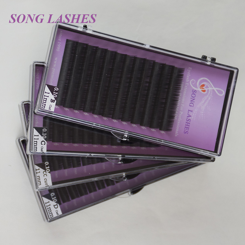SONG LASHES False Eyelash Extensions Soft Thin Tip B,C,CC,D curl 0.10 thickness Ten trays per pack