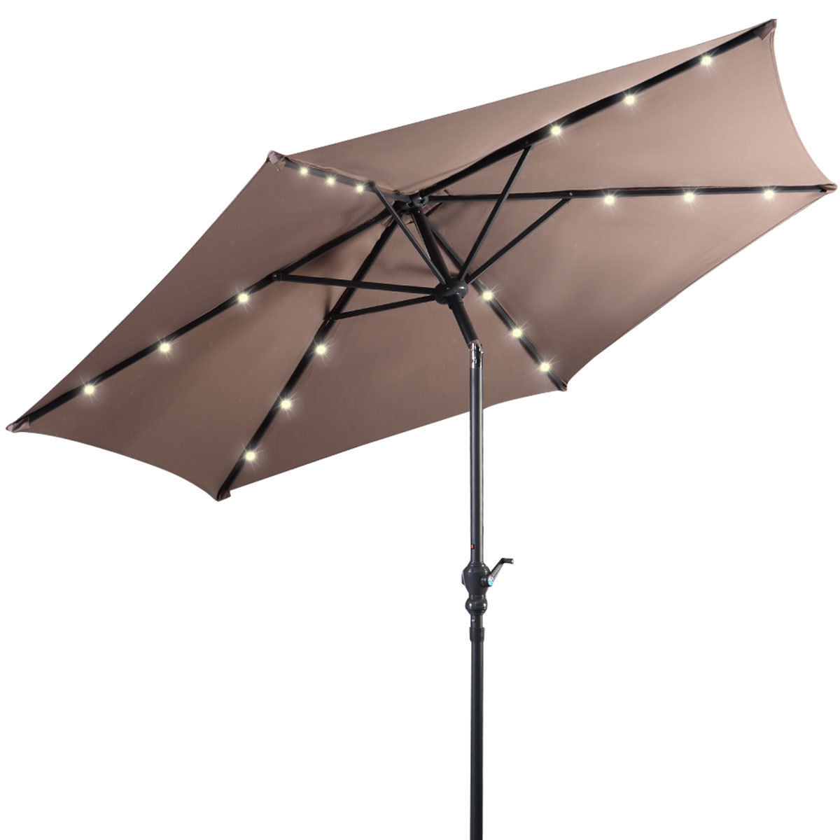 Costway 9ft Patio Solar Umbrella LED Patio Market Steel Tilt W/ Crank Outdoor (Tan)