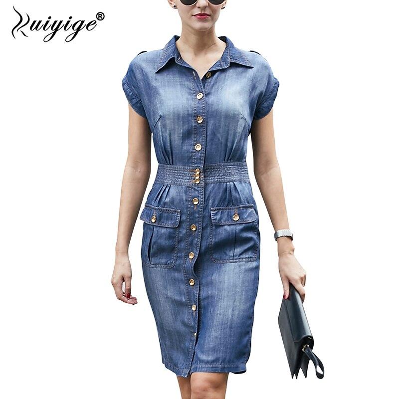 Ruiyige mujeres Denim vestido Casual manga corta de verano camisa Vestidos 2018 ropa Jeans botón bolsillo trabajo elegante Midi Vestidos