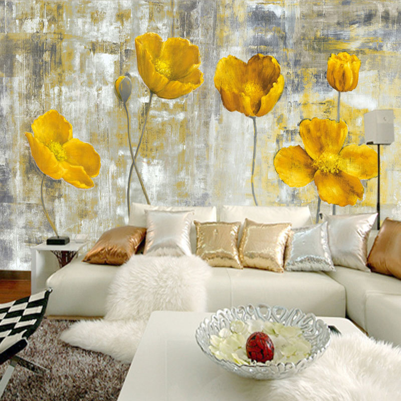 European Style Vintage Yellow Flower Backdrop Wall 3D Mural Wallpaper Hotel Gallery Dining Room Art Wallpaper Papel De Parede 3D
