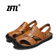 ZFTL Mens Sandals Genuine Leather Handmade beach sandals Trendy mens sports and leisure man Summer breathable Slip-on shoes 56