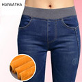 Calças de Brim da mola Das Mulheres do Velo de Ouro Dentro das calças de Brim Quentes Calças de Inverno Espessamento Calças Lápis de Cintura Elástica Calças Jeans Da Moda P8035