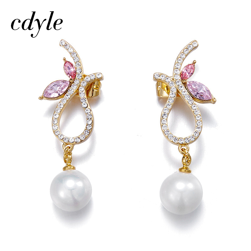 Cdyle Crystals from Swarovski Dangle Earrings Women Earring Luxury Fashion Jewelry Simulated Pearl Elegant Austrian Rhinestone pair of elegant spiral tiered rhinestone dangle earrings