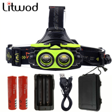 Litwod z307305A 8000LM LED Headlamp CREE XM-L2 4 Modes Rechargeable Headlight Head Lamp Spotlight Head light 2* 18650 Battery