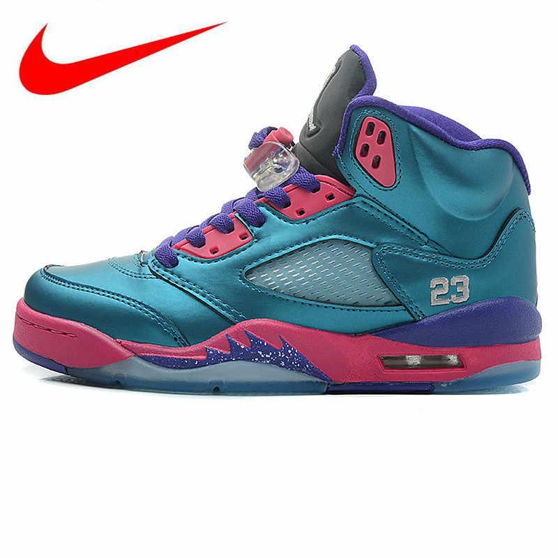 90461575c17 Original Nike Air Jordan 5 Retro GS Women's Basketball Shoes , Outdoor Shock -absorbing Sneakers