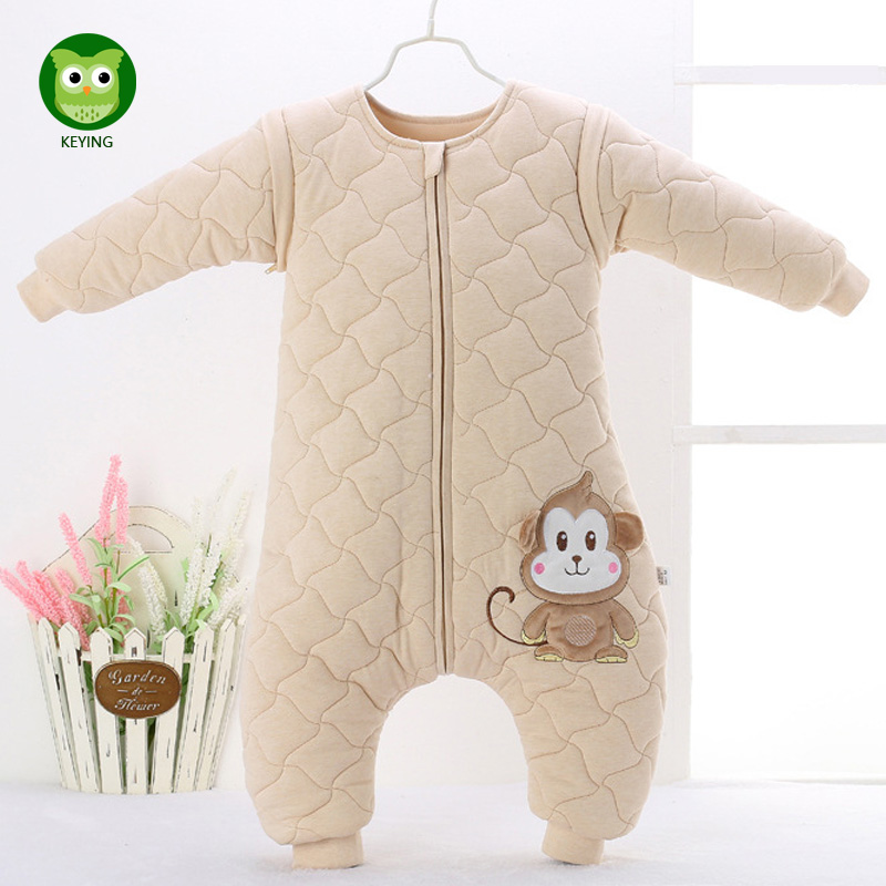 KEYING Baby Sleeping Bags 100%cotton Baby Sleepsiut Kid Sleep Bag Long sleeve Letter Pattern Children Winter Sleep Rompers