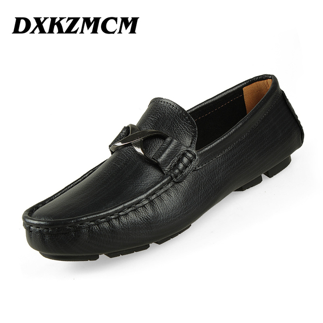 DXKZMCM Handmade Genuine Leather Men Flats, Casual Leather Men Shoes, High Quality Men Loafers, Moccasin Driving Shoes