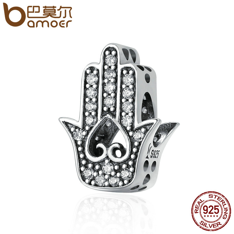 BAMOER Authentic 925 Sterling Silver Good Luck Hand Of Fatima Charms fit Women Bracelets & Necklaces DIY Silver jewelry SCC225 брелок silver angel 120pcs diy 14x22mm a428 fit slide bracelets necklaces jewelry findings