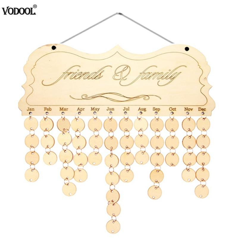 VODOOL DIY Fashion Wooden Birthday Calendar Family Friends Sign Special Date Wall 2019 Planner Board Hanging Calendar Decor Gift vodool wall calendar cute diy happy birthday theme calendar wooden board family special dates planner sign hanging decor gift