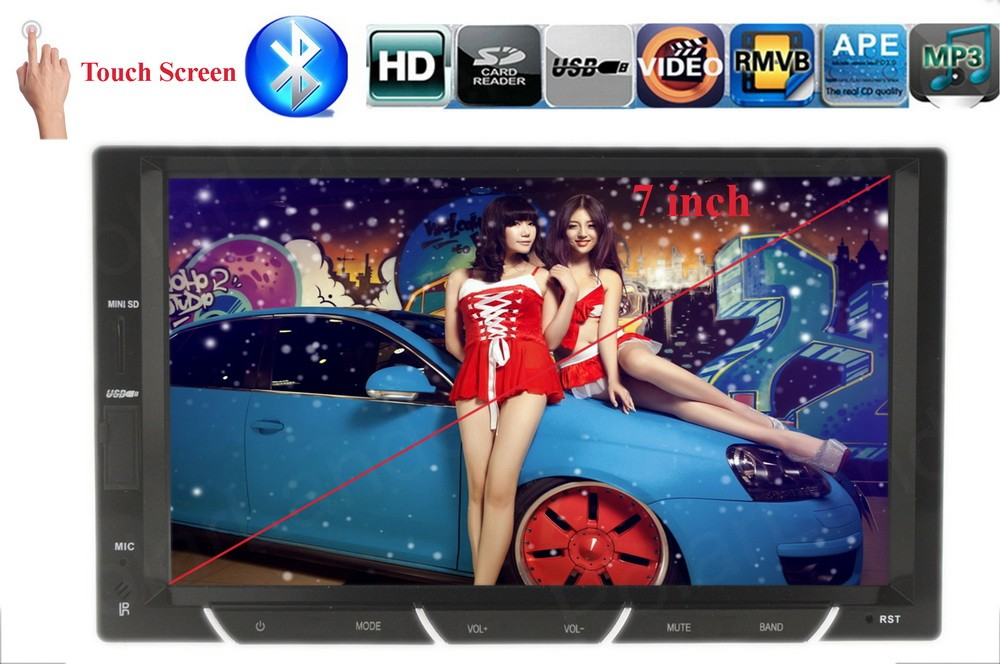ФОТО 2 DIN bluetooth 7 inch car MP4 player radio touch screen support rear view camera USB SD FM Chinese English language