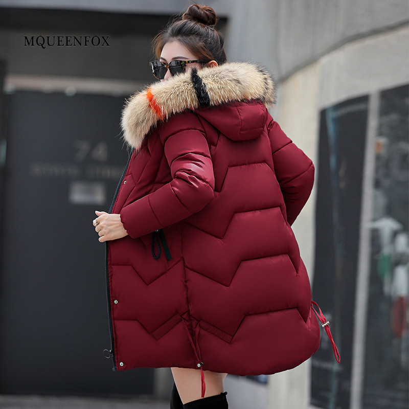 2019 New Women Winter Coat Thick Warm Women   Parkas   Winter Jacket Women Wool Hats Fur HoodedDown Jacket