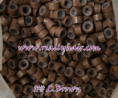 1000 шт./bottle кремния выстроились Micro Ссылки Кольца Бусины волос Перо Расширения 11 # L. Brown
