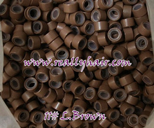 1000pcs bottle silicon lined Micro Links Rings Beads Hair Feather Extensions 11 L brown