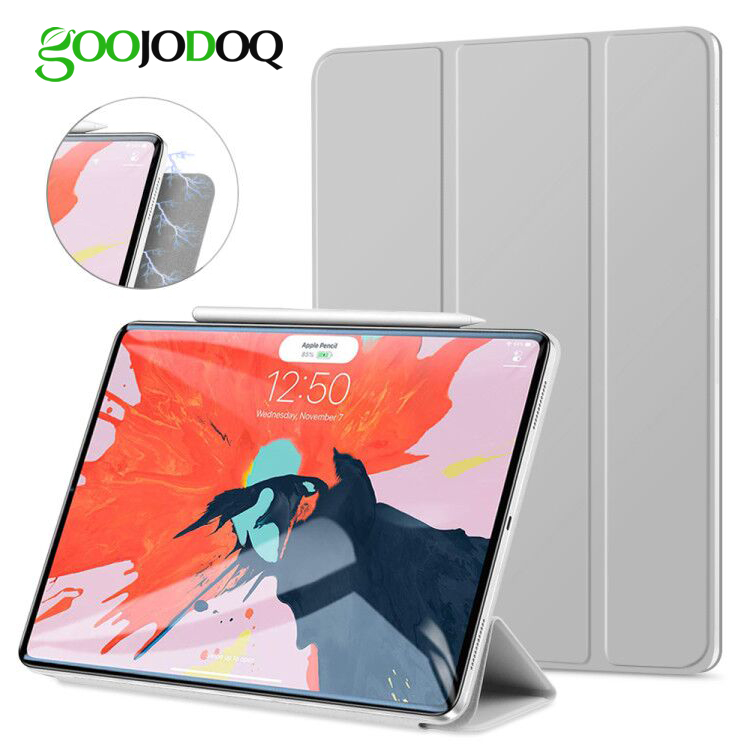 GOOJODOQ for iPad Pro 11 Case Pro 12.9 2018 Magnetic Case Funda Support Wireless Charging for Apple Pencil PU Leather Smart Case