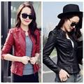 Leather jacket women 2017 new fashion Pu leather coat women short slim motorcycle leather clothing female outerwear black MZ656